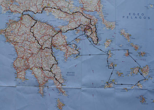 Map of our trip route by boat in the Cyclades and later by car on the mainland