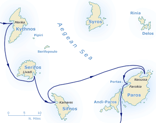 Map of North cyclades, Kithnos, Serifos, Sifnos, Siros and Paros