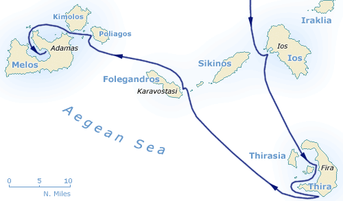Map of Santorini, thira, cyclades, Ios, Melos and Folegandros