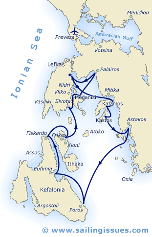 Sailing holidays in the Ionian and Lefkas - Route itinerary.