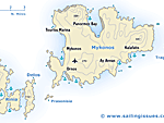 Map of Mykonos Myconos and Delos Dilos